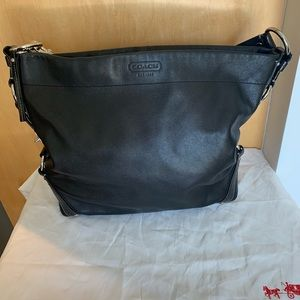 Large Black leather Coach Carly